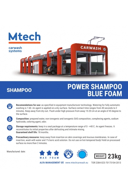 POWER SHAMPOO BLUE FOAM 20L